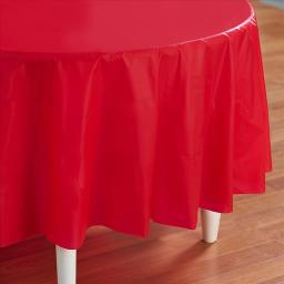 Red-Round Plastic Table Cover 84""