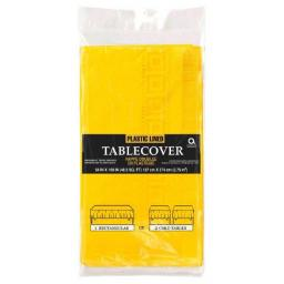 Sunflower Yellow Plastic Lined Tablecover 54x108 in