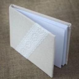 Linen Guest Book with Lace