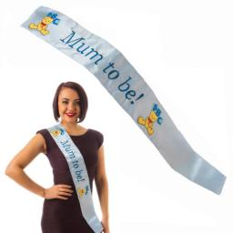 Mum To Be Baby Shower Sash Blue with Embroidered Logo