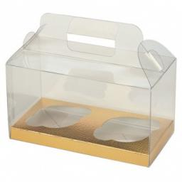 PVC 2 Cupcakes Square Box 180 x 90 x 100mm With Gold Insert