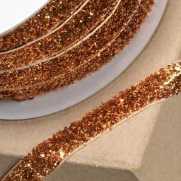 Velvet Glitzy Ribbon 10mm x 1M Old Gold
