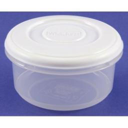0.5 L Clear Plastic Round Container + White Lid
