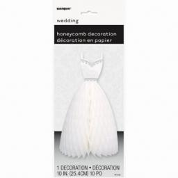 White Wedding Dress Honeycomb Decoration 10 inch