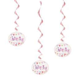 Pink Christening Hanging Decorations 3ct
