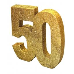 Gold Glitter Number Table Decoration - Age 50