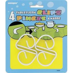 4 White Tablecloth Clips