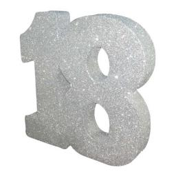 Silver Glitter Number Table Decoration - Age 18
