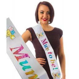Mum To Be Baby Shower Sash White with Multi Lettering