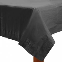 Black Plastic Lined Paper Tablecover 54x108 inch