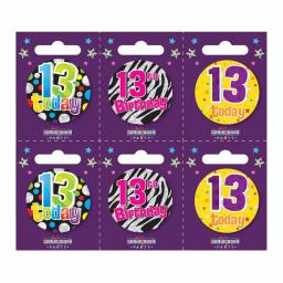 Age 13 Small Badge 5.5cm (6 assorted design)