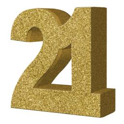 Gold Glitter Number Table Decoration - Age 21