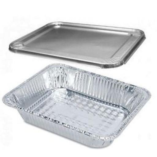 Aluminium Foil Roasting Tins & Foil Lids Set of 2