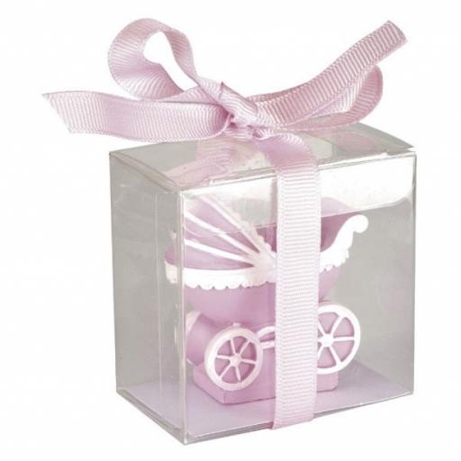 Baby Shower Candle Pram 50 x 25 x 50mm Pink