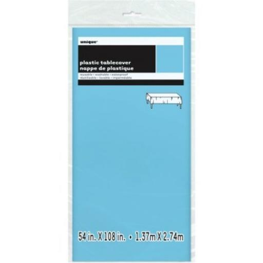 Plastic Tablecover Powder Blue Oblong 54x108 inch
