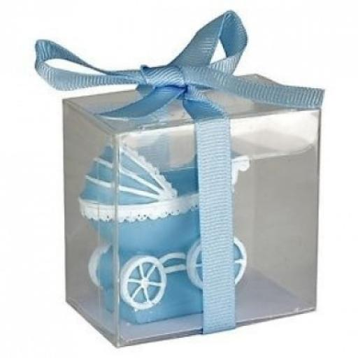 Baby Shower Candle Pram 50 x 25 x 50mm Blue