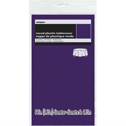 "Deep Purple -Round Plastic Table Cover, 84"""