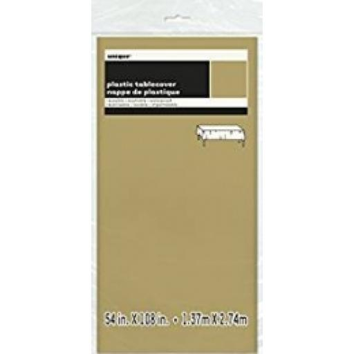 Plastic Tablecover Gold Oblong 54x108 inch