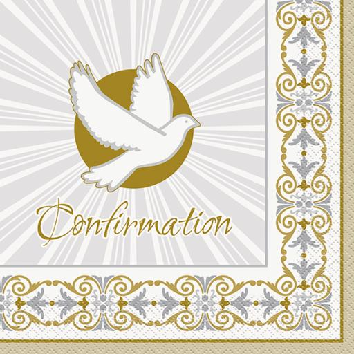 Radiant Cross Silver & Gold Confirmation Luncheon Napkins 16ct 2ply