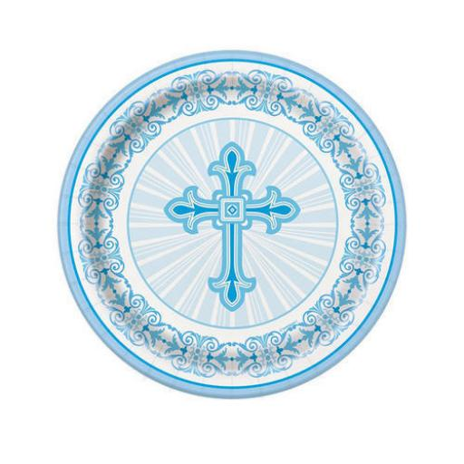 Radiant Cross Blue Communion Paper Plates 8ct 21.9 cm