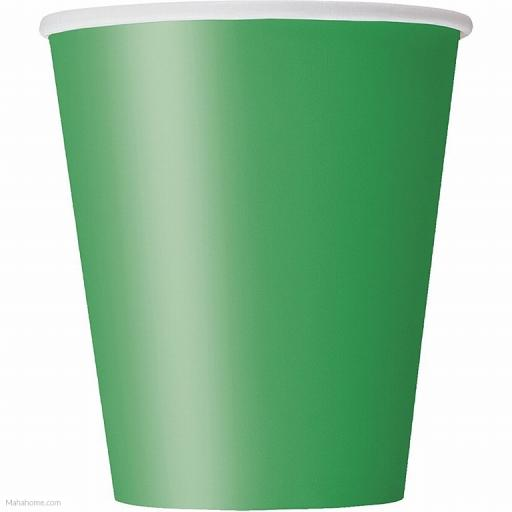 14 Emerald Green Paper Party Cups 9oz