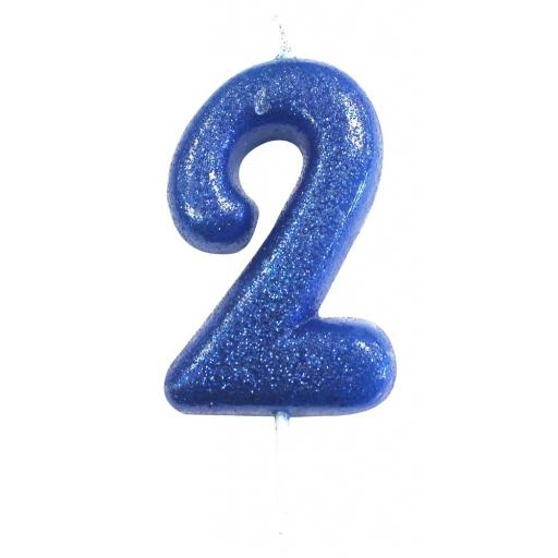 No. 2 Blue Moulded Glitter Pick Candle