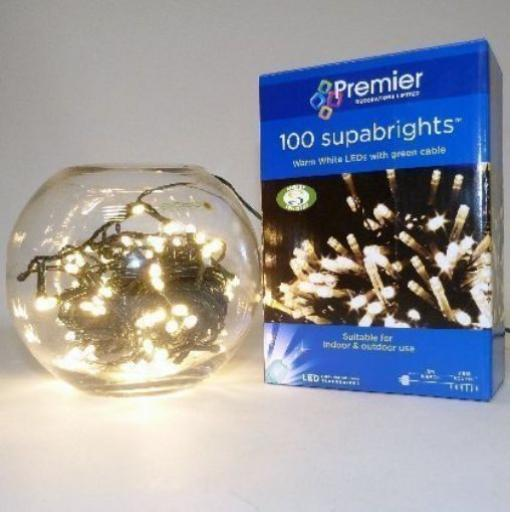 Premier 100 Suparbrights Warm White Light LED with Green Cable In/Out Door Use 8m approx + 8m cable
