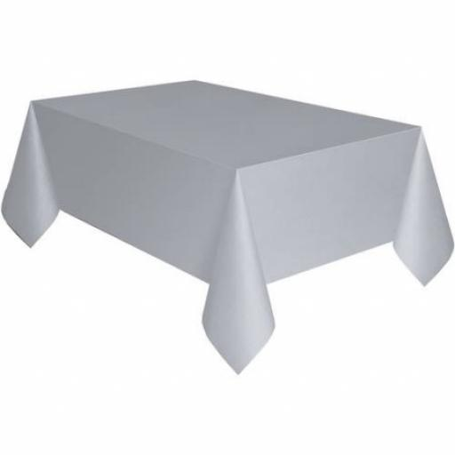 Plastic Tablecover Silver Oblong 54x108 inch