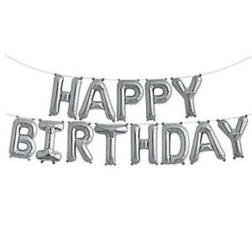 Silver Happy Birthday Air Fill Only Balloon Banner Kit