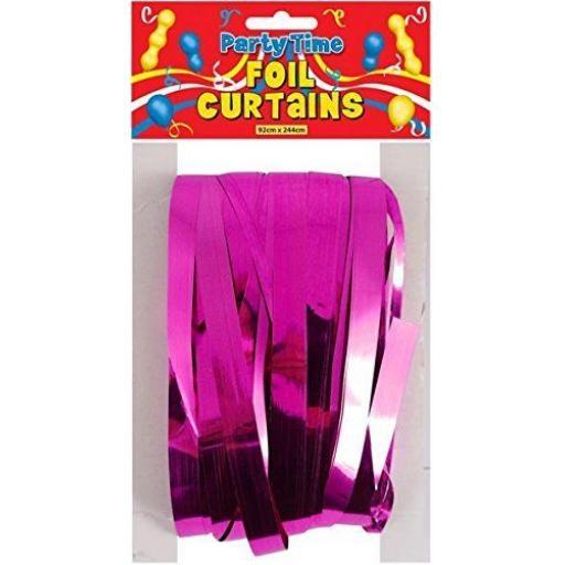 Hot Pink Foil Door Shimmer Curtain 92cm x 244cm