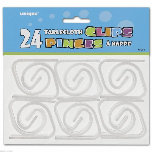 24 Tablecloth Clear Plastic Clips