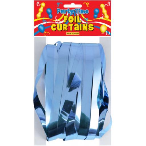 Light Blue Foil Shimmer Door Curtain 92cm x 244cm