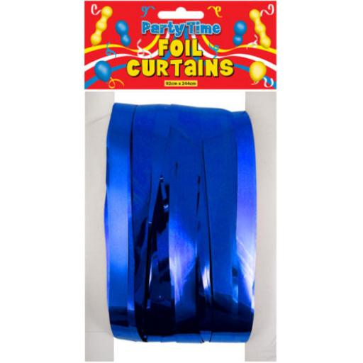Royal Blue Foil Shimmer Door Curtain 92cm x 244cm
