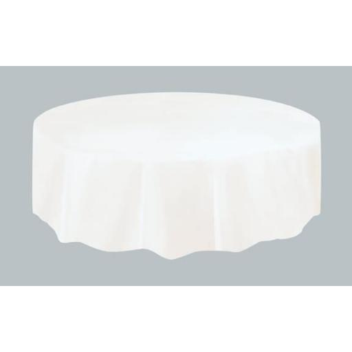 "Plastic Table Cover, 84"" Round, White"
