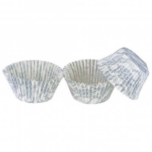 Lace Design White & Silver Cupcake Cases - 100 per pack