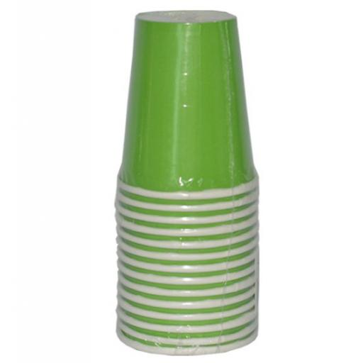 14 Lime Green Paper Party Cups 9oz
