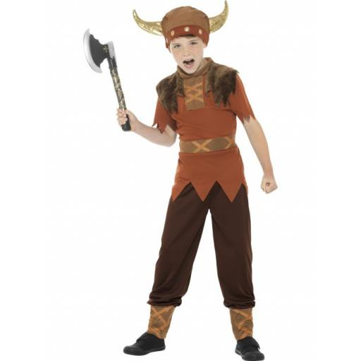 Viking Costume, Brown, with Top, Trousers & Hat Children Large Size