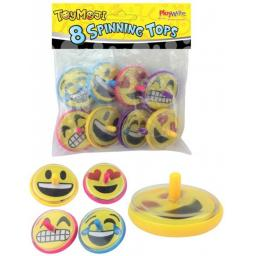 8 Emoji Spinning Tops - Pinata Toy Loot/Party Bag Fillers