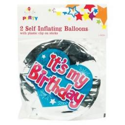 It's My Birthday Self Inflating Balloons pack of 2