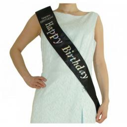 Happy Birthday Black Satin Sash with Diamante