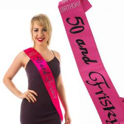 Happy Birthday 50 and Fabulous Sash with Diamante