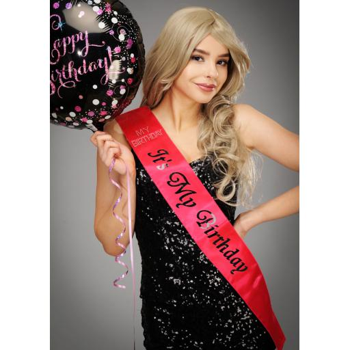 It's My Birthday Sash Pink With Diamante stones