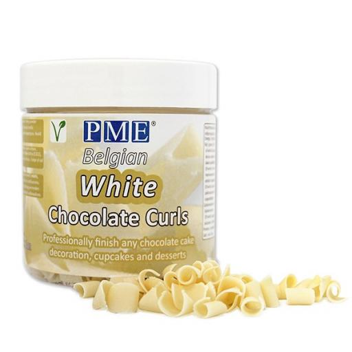 PME White Belgian Chocholate Curls 85g