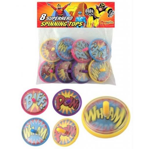 8 Superhero Spinning Tops - Pinata Toy Loot/Party Bag Fillers
