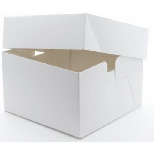 8in Cake Box & Lid White Stapleless
