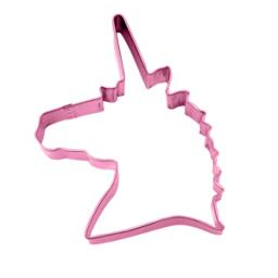 Unicorn Head Cookie Cutter 12cm Pink Polyresin Metal