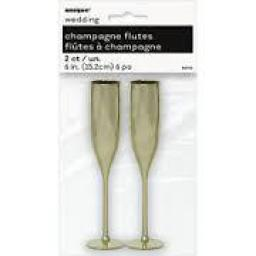 Champagne Flutes Mini Gold 2pcs