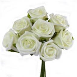 Foam Rose Bunch of 8 Ivory