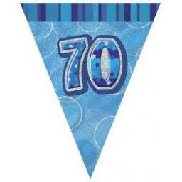 Flag Banner Blue Glitz 70th