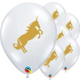 "Latex Unicorn 11"" Clear Balloons Helium Quality 25pcs"